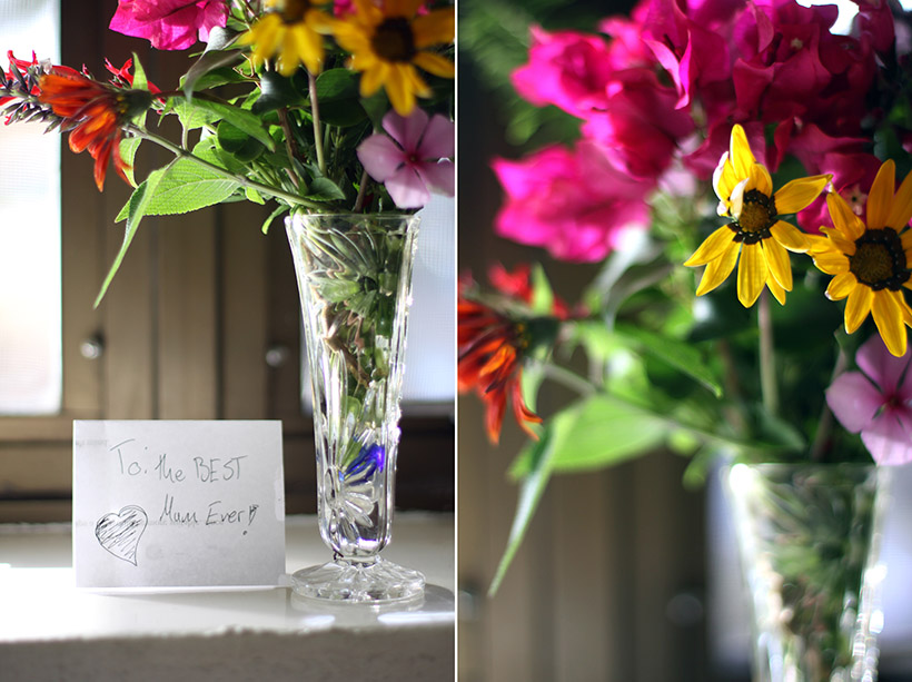 mother's day, flowers, note,